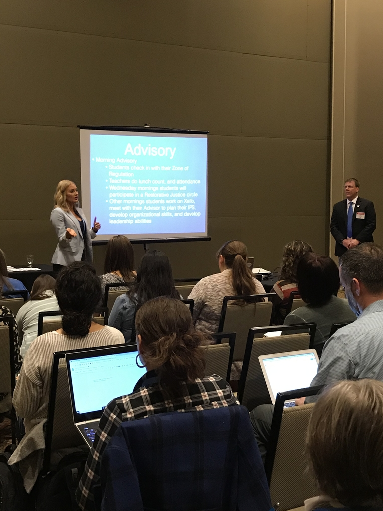 Mr. Kimble and Ms. Lingenfelter presenting at the KSDE Kansas Can Symposium on school redesign